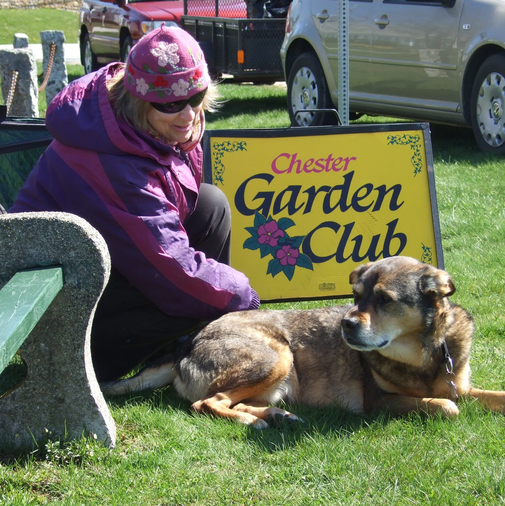 the garden club's mascot takes a rest