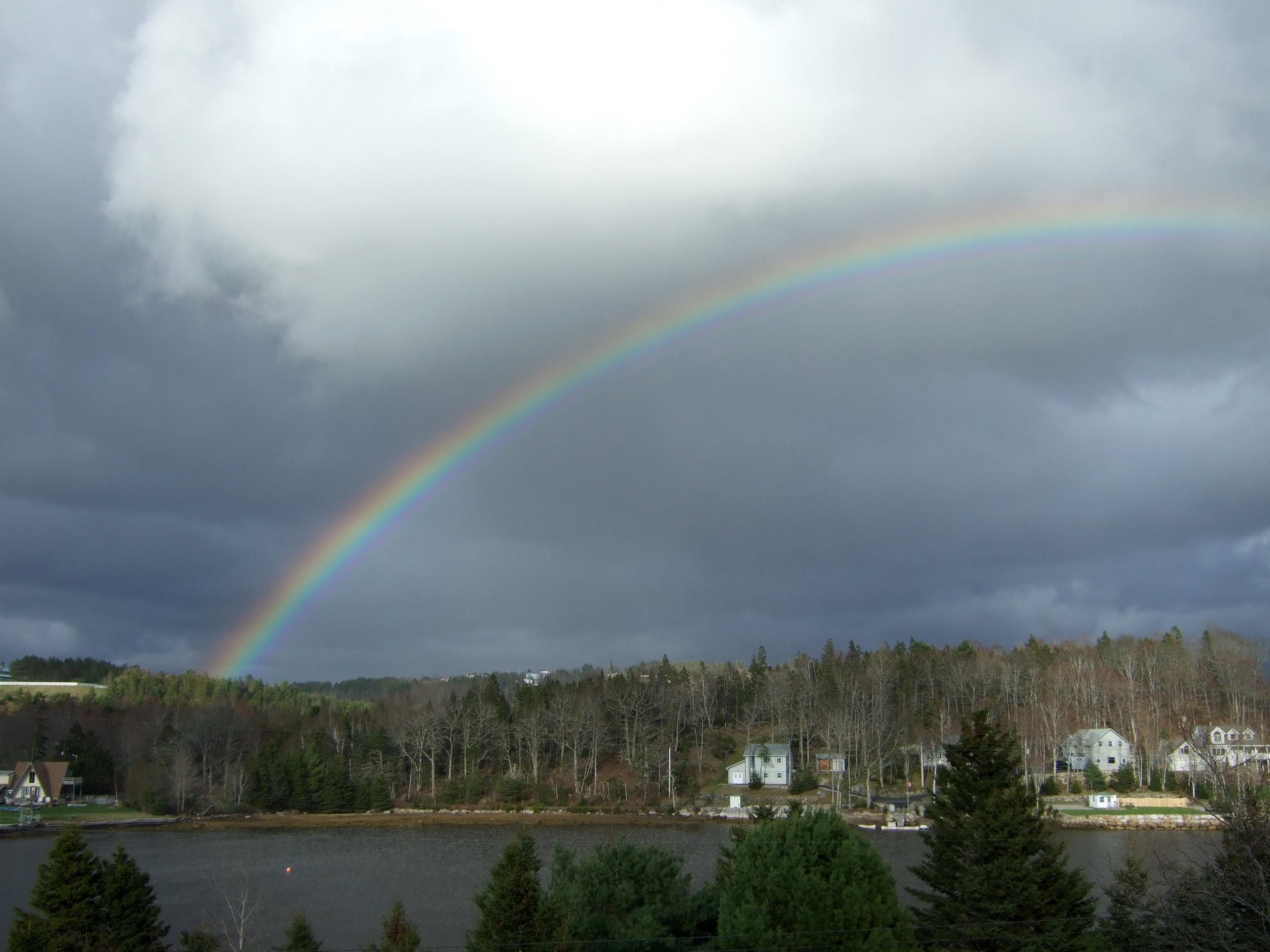 rainbow over a cove