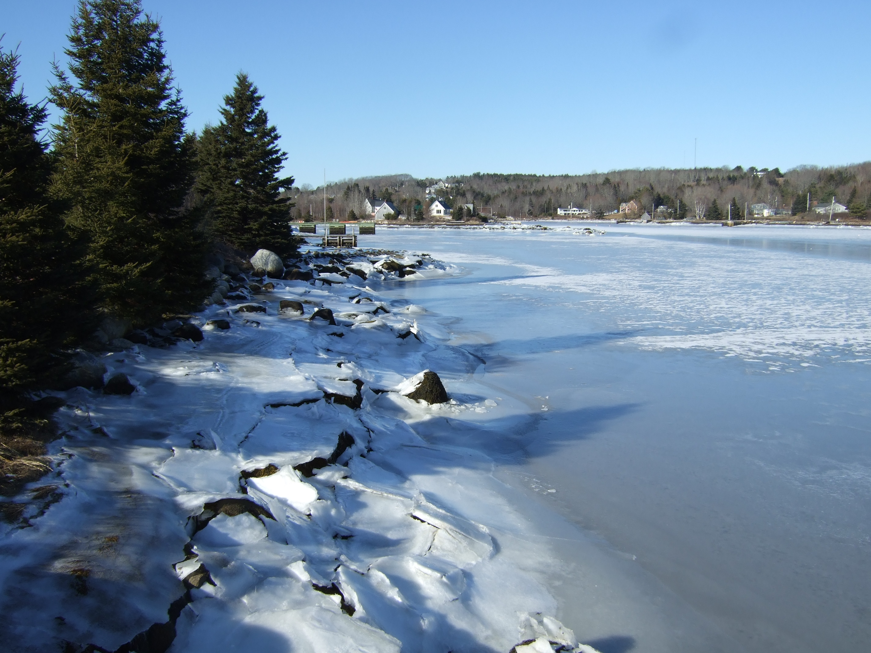 Ice-covered cove in February