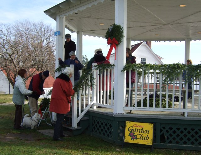 Decorating the bandstand for Christmas