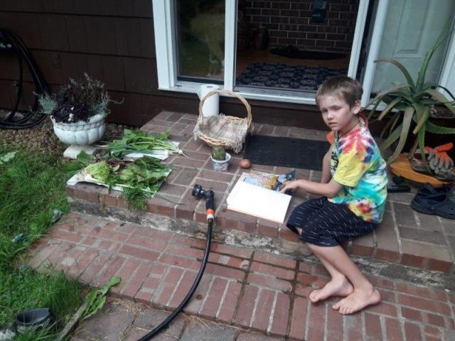 2018 07 23_Theo planning his arrangement of veggies from the garden.101808